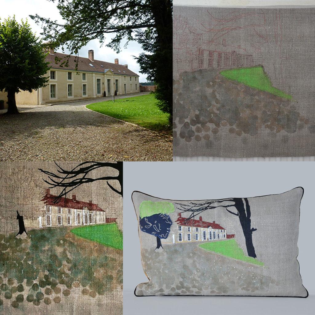 Bespoke Cushion 134 House in Normandy